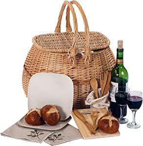 Picnic Plus Eco-Friendly All-Natural Willow Picnic Basket for 2 Includes Bamboo Fiber Plates & Utensils, Cutting Board and More