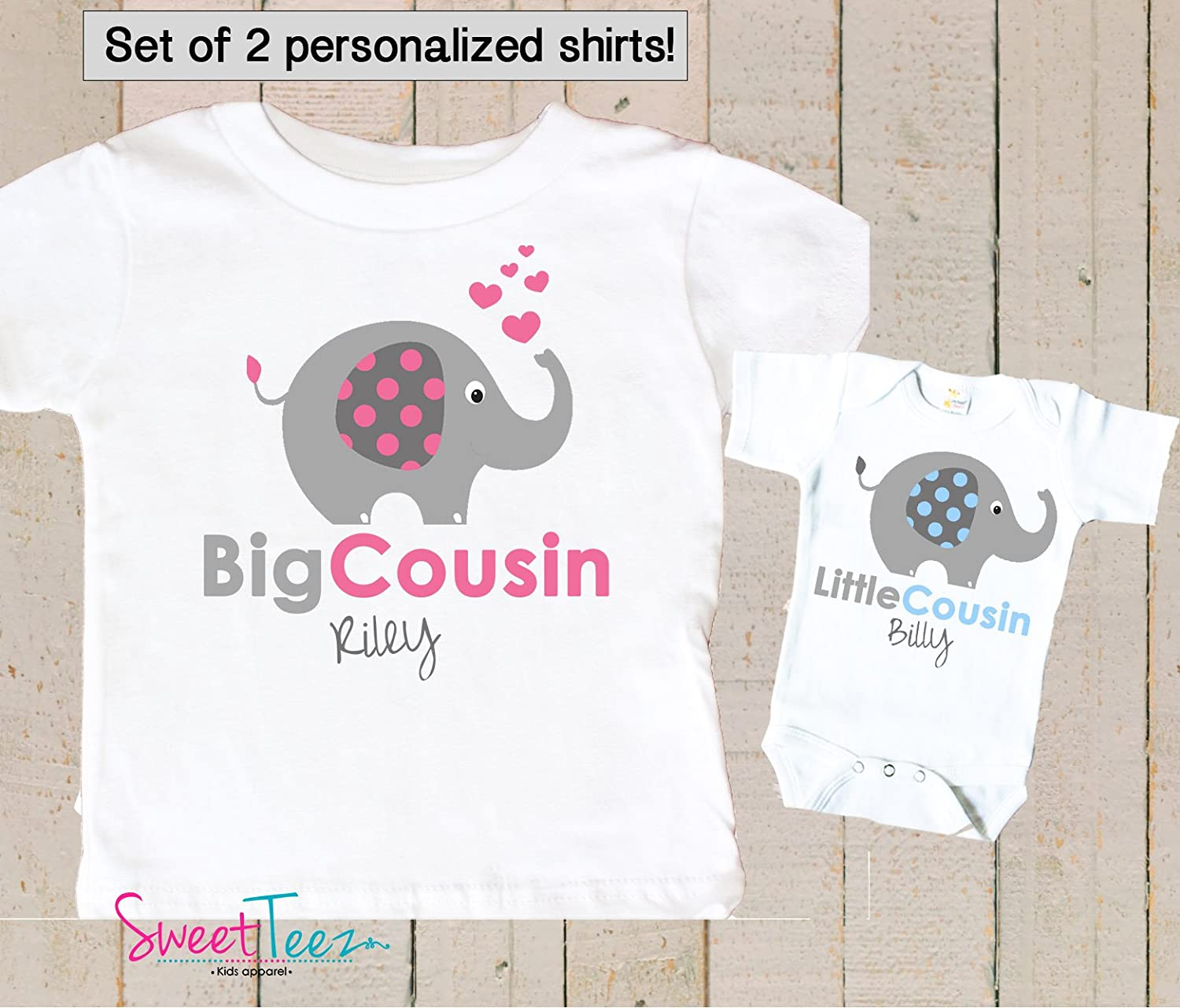 Girls Little Sister Elephant T-Shirt Printed Matching Gift Present Top Pink