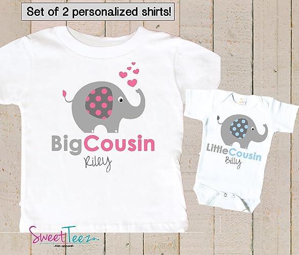 447adbf2 Amazon.com: Big Cousin Little Cousin Shirt Personalized Elephant Shirt Girl  Boy Set of 2 Shirts Gift Set: Handmade