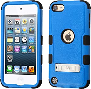 MYTURTLE iPod Touch 7th 6th 5th Generation Case Shockproof Hybrid Hard Silicone Shell Impact Cover with Screen Protector for iPod Touch 7 (2019), iPod Touch 5/6 (2015), Kickstand Blue Black