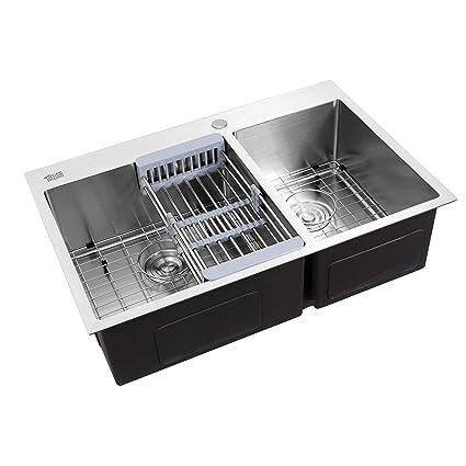 Aromdeeshopping New Kitchen Sink Tray Drain Set Dual Basin ...