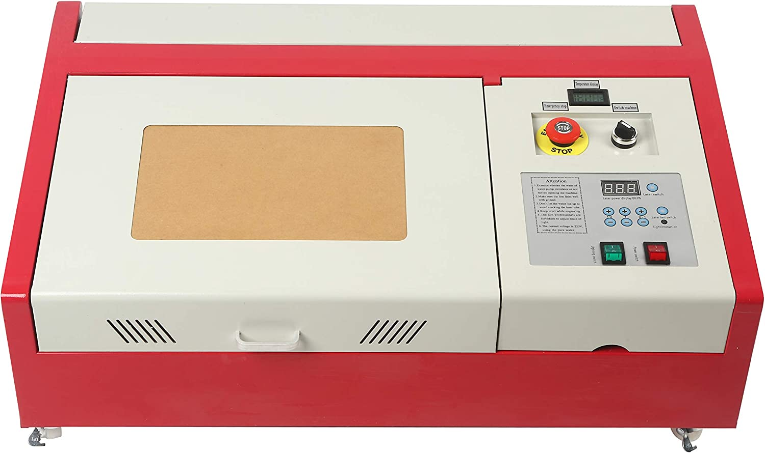 ZEYI 40W CO2 Laser Engraver Cutter, 12x8 Inches Laser Engraving Machine, DIY Desktop Wood Laser Engraver Cutter with Auxiliary Rotary Wheels & LCD Screen (New Version)