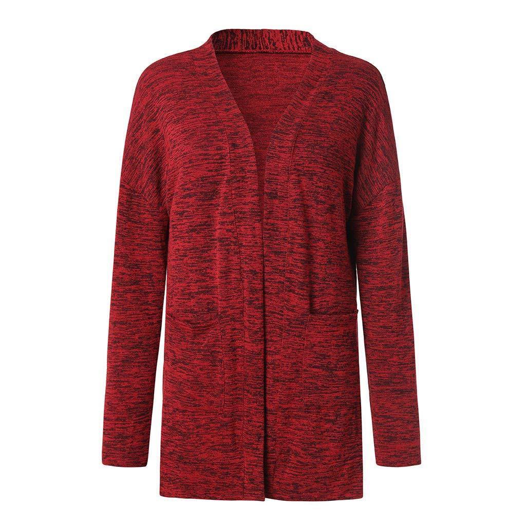 Kulywon Women Long Sleeve Pockets Tops Blouse Loose Long Cardigan Coat Jacket Outwear