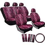 OxGord 17pc Set Leopard Animal Print Auto Seat Covers Set - Front Low Back Buckets - Rear Split Bench - Pink