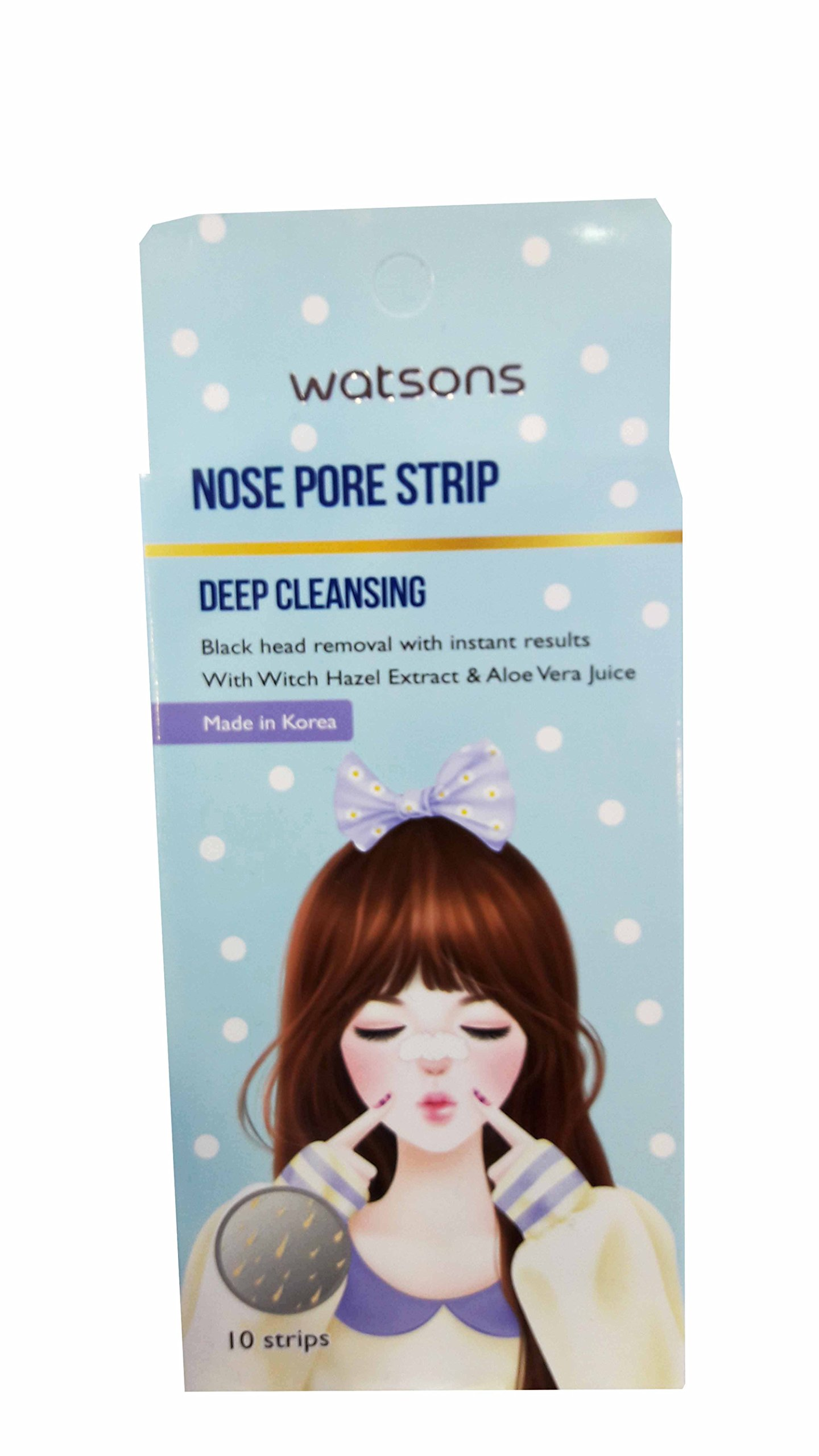4 Packs of Watsons Deep Cleansing Nose Pore Strips with Witch Hazel Extract and Aloe Vera Juice. (10 Strips/Pack)