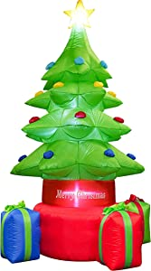 Kyerivs 7 FT Christmas Inflatable Christmas Tree Indoor Outdoor Inflatable Christmas Decorations with Built-in LEDs Christmas Blow up Decor for Yard Lawn Patio Garden Xmas Holiday Party