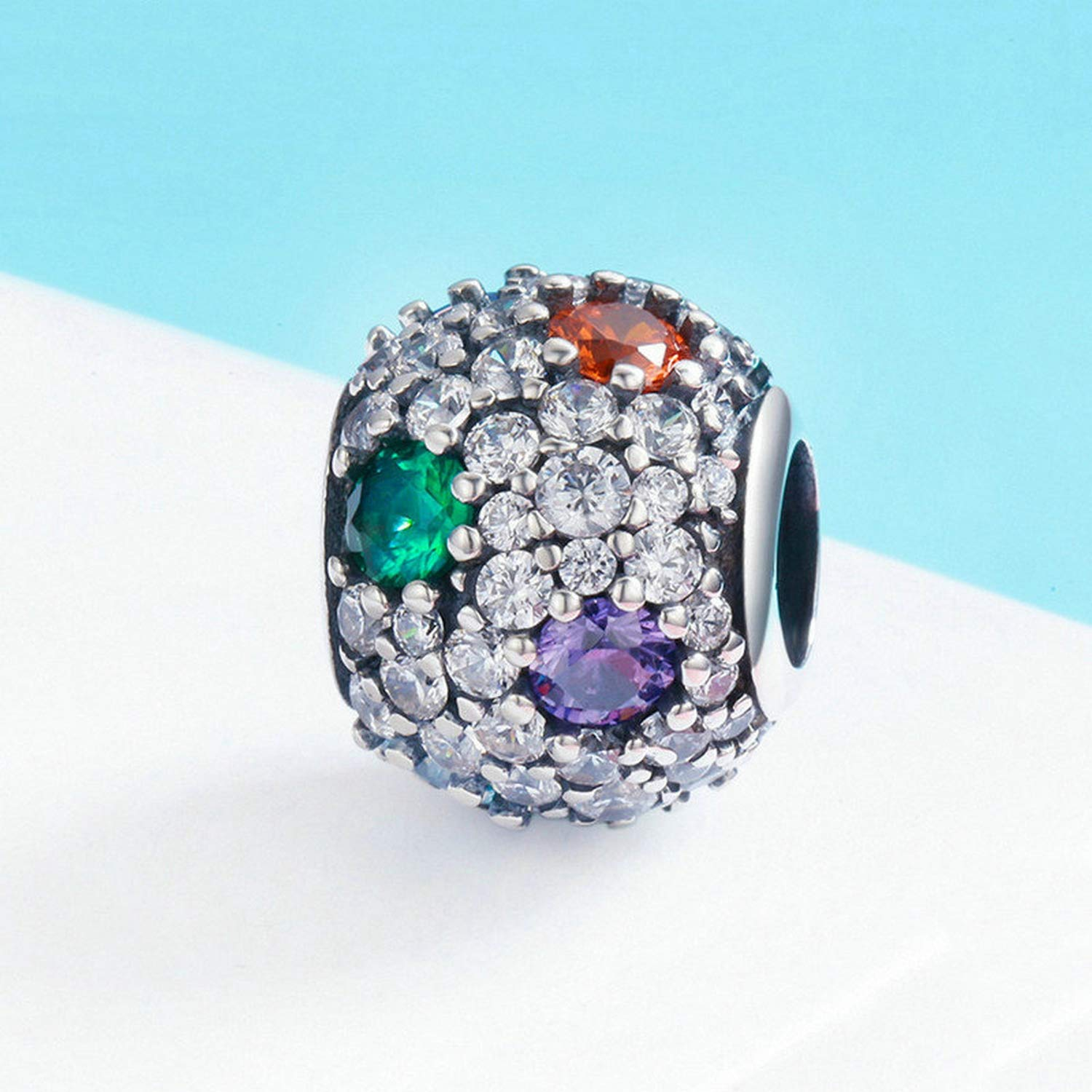 EverReena Dazzling Clear Colorful Elegant CZ Stone Pave Charm Silver Beads Bracelets