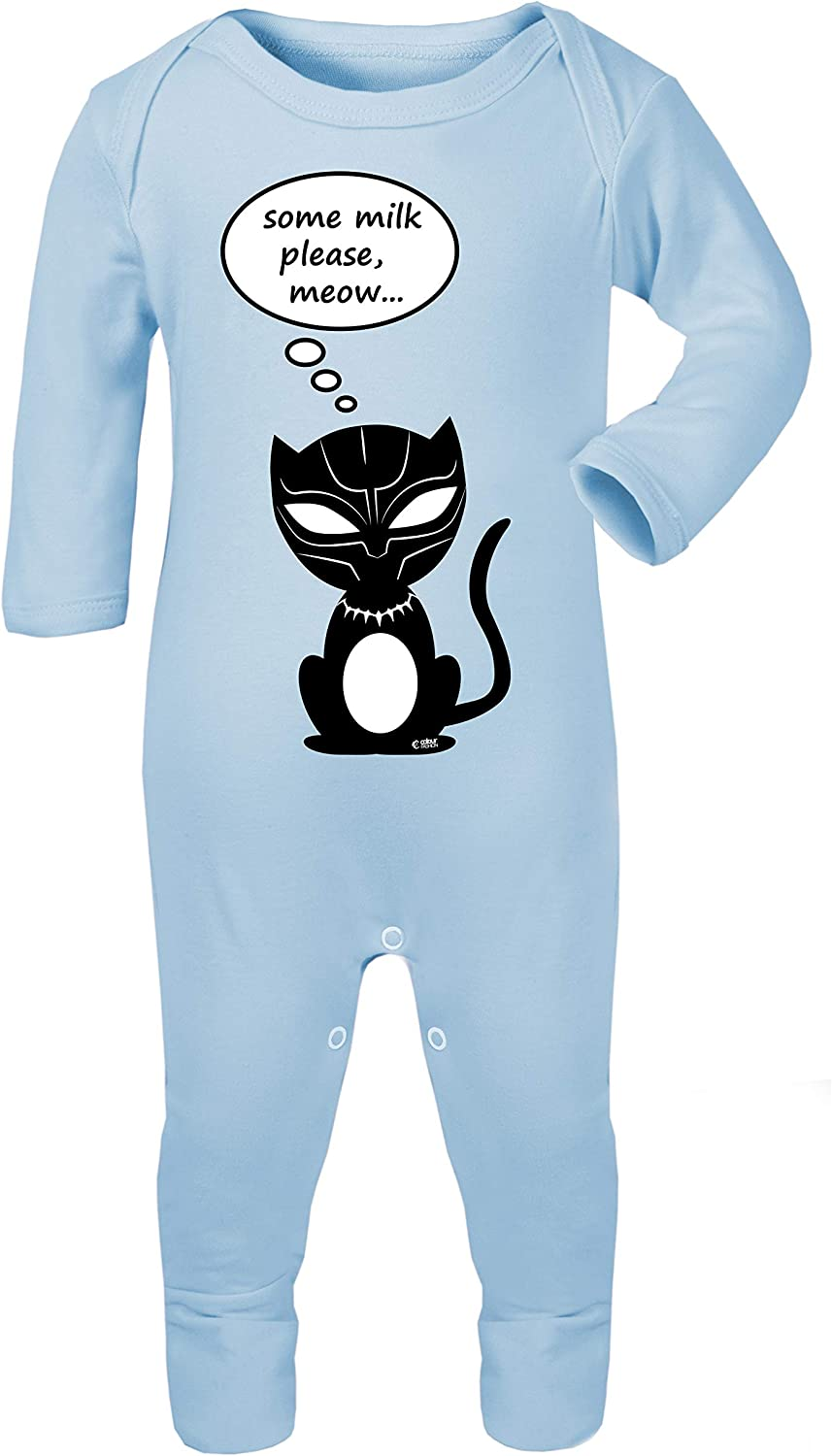 Colour Fashion Black Panther Some Milk Please Funny Print Baby Footies Sleep /& Play 100/% Cotton