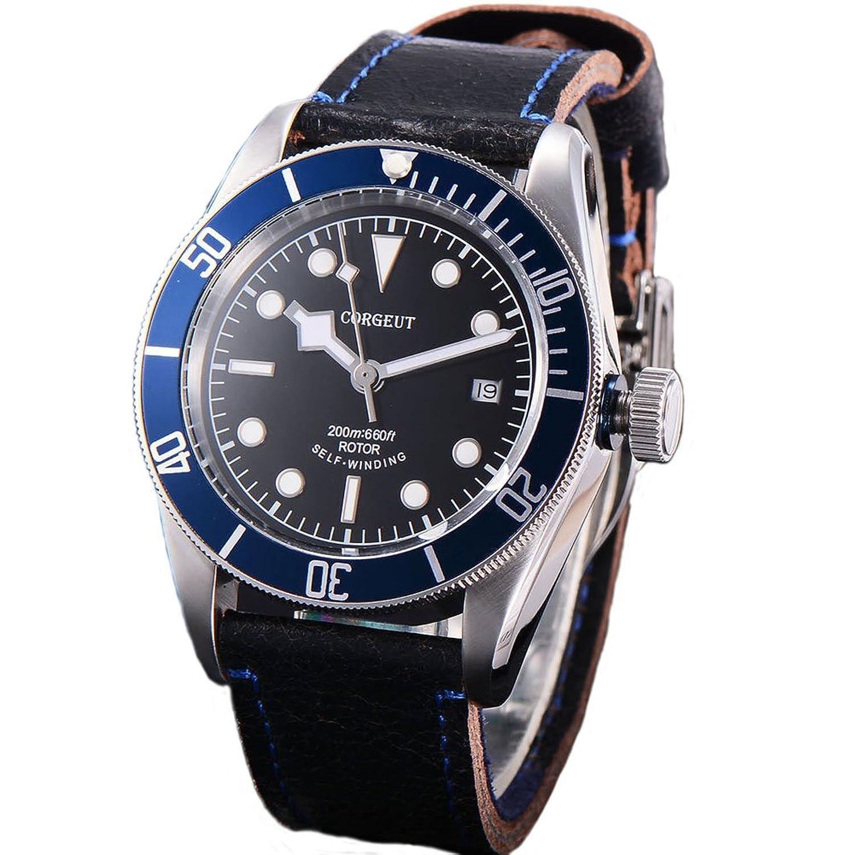 41 MM Corgeut Leuchtend Automatik Saphirglas Uhr Blau Aluminium LÜnette