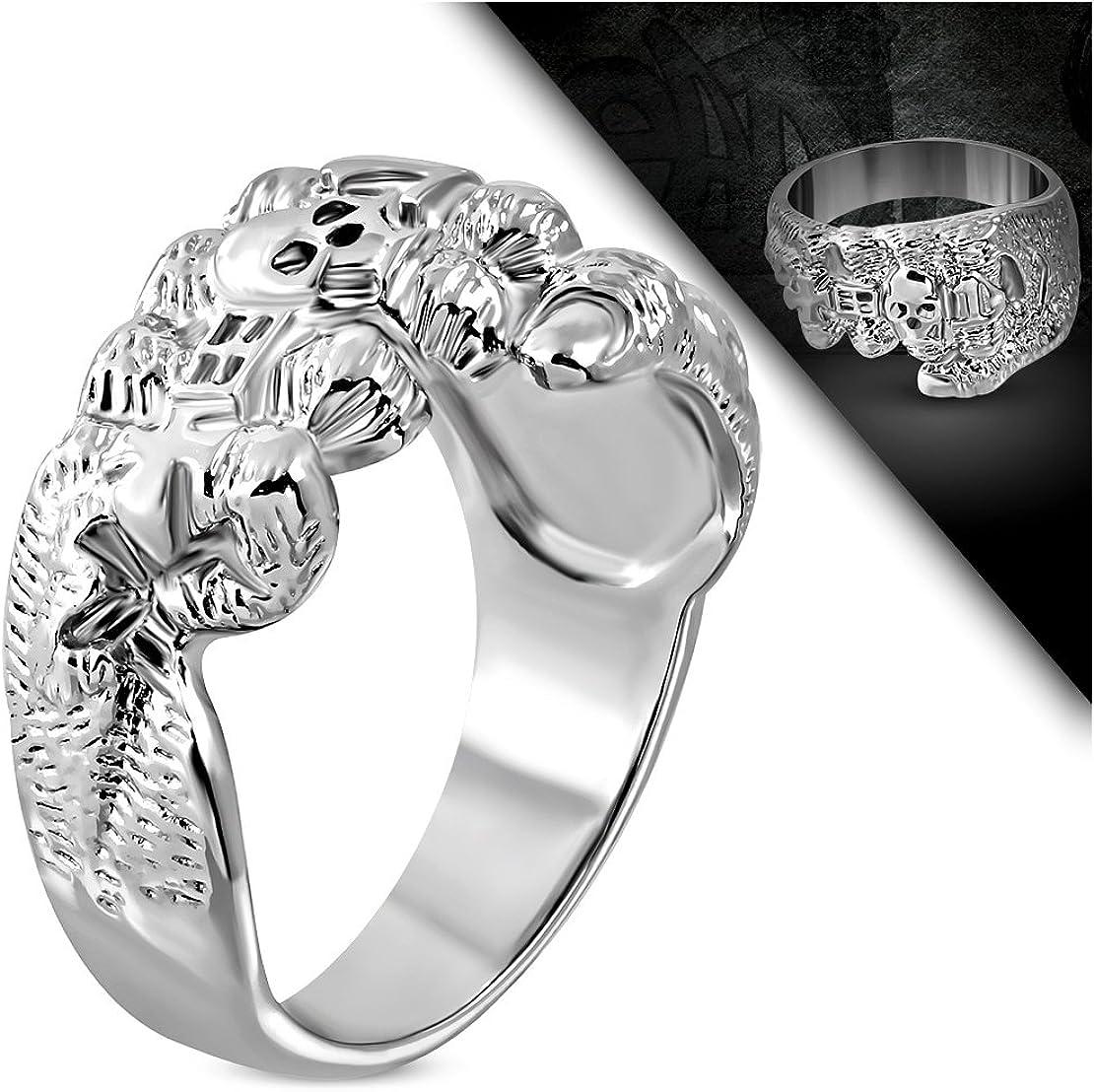 Stainless Steel Cross Ghost Skull Evil Fist Hand Biker Ring