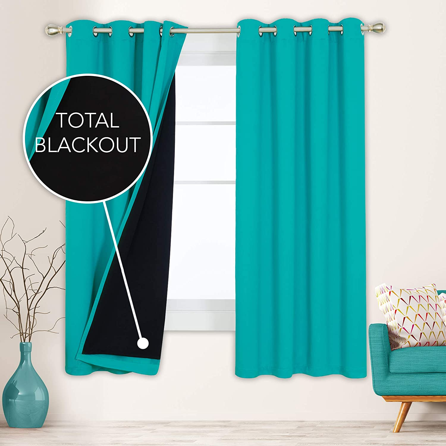 Deconovo Thermal Insulated 100% Blackout Curtains Double Layers Total Sun Light Full Block with Liner Noise Cancelling Drapes for Home Windows Playroom Patio Office, 2 Panels, Each 52x72 in, Teal