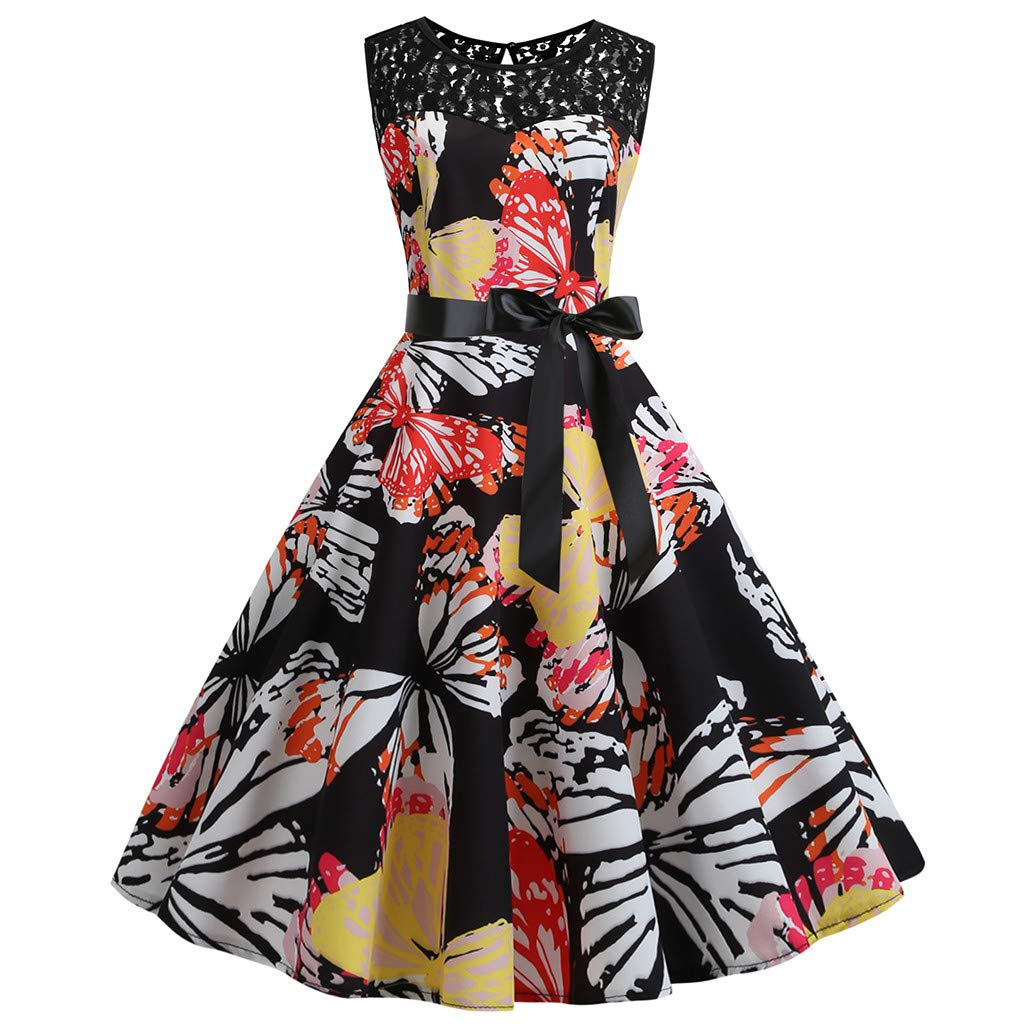 LIEJIE Retro Sleeveless Lace Splice Printing Party Prom Dress Summer Swing Dress Sundress with Pockets