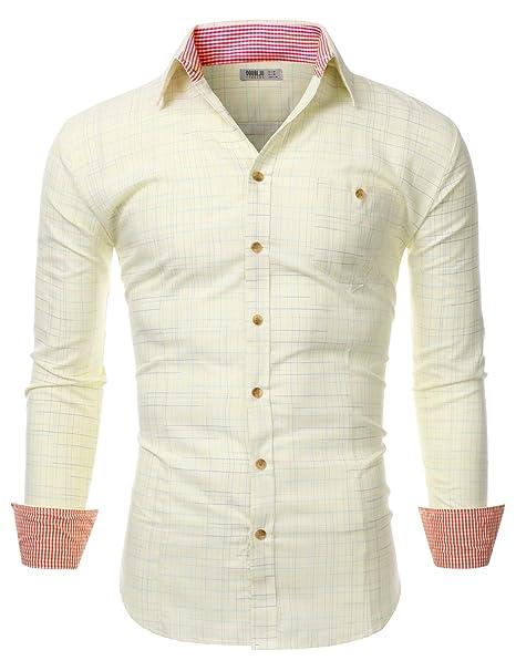 537adb8976f Doublju Mens Long Sleeve Slim Fit Plaid Collared Button Down Shirt Yellow  Small