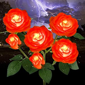 Outdoor Solar Garden Stake Lights,Upgraded LED Solar Powered Light with 6 Rose Flowers, Waterproof Solar Decorative Lights for Patio Pathway Courtyard Garden Lawn (Orange)