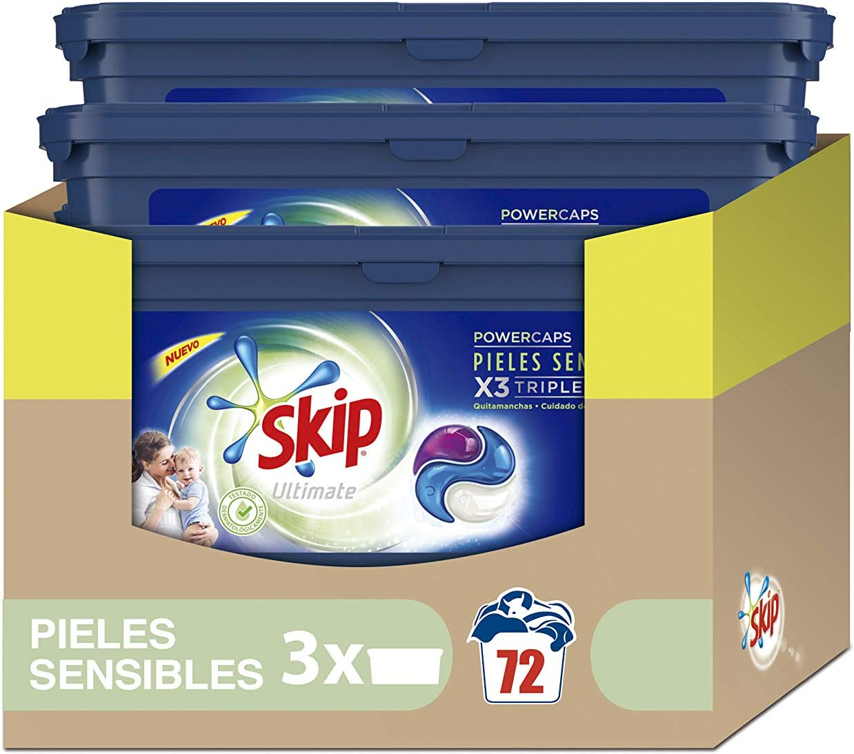 Skip Ultimate Triple Poder Pieles Sensibles Detergente Cápsulas para Lavadora - Paquete de 3 x 24 lavados - Total: 72 lavados