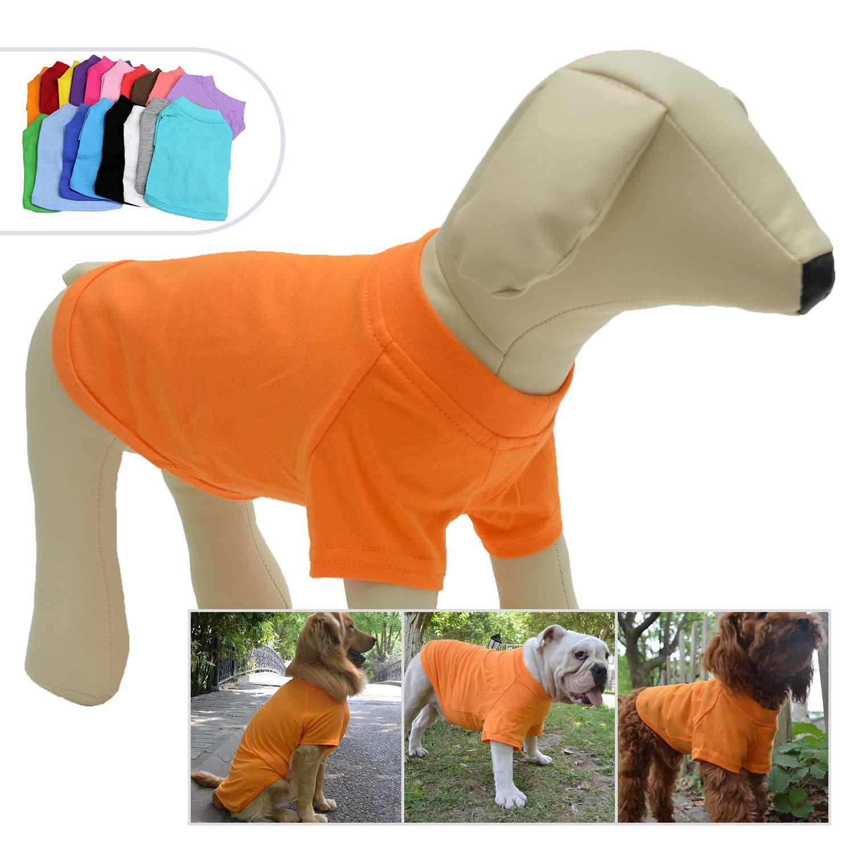 Lovelonglong 2019 Pet Clothing Dog Costumes Basic Blank T-Shirt Tee Shirts for Small Dogs Orange S