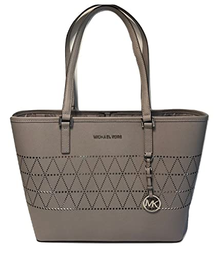 a99c7b49e0cd ... clearance michael michael kors womens jet set travel leather md  carryall tote pearl grey 1362e 0a145
