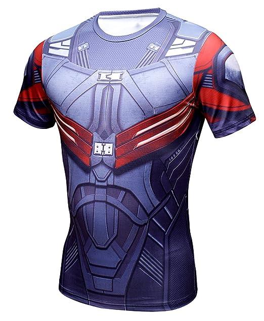 e782fe52a650d A. M. Sport Camiseta Fitness Compresion Hombre con Dibujos de Superheroes  para Entrenar y Hacer Deporte. Licras (Vengadores)  Amazon.es  Ropa y  accesorios