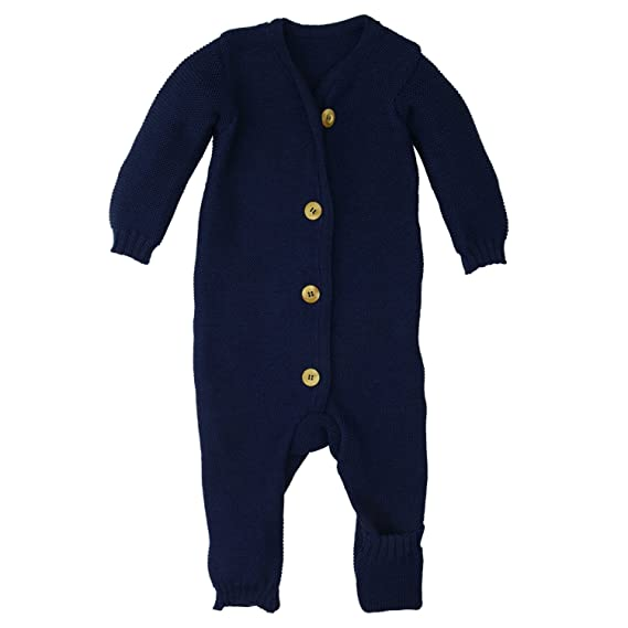 5c5ab8a5c Disana Organic Merino Wool Knitted Overall Romper Made in Germany Navy Blue  (50/56