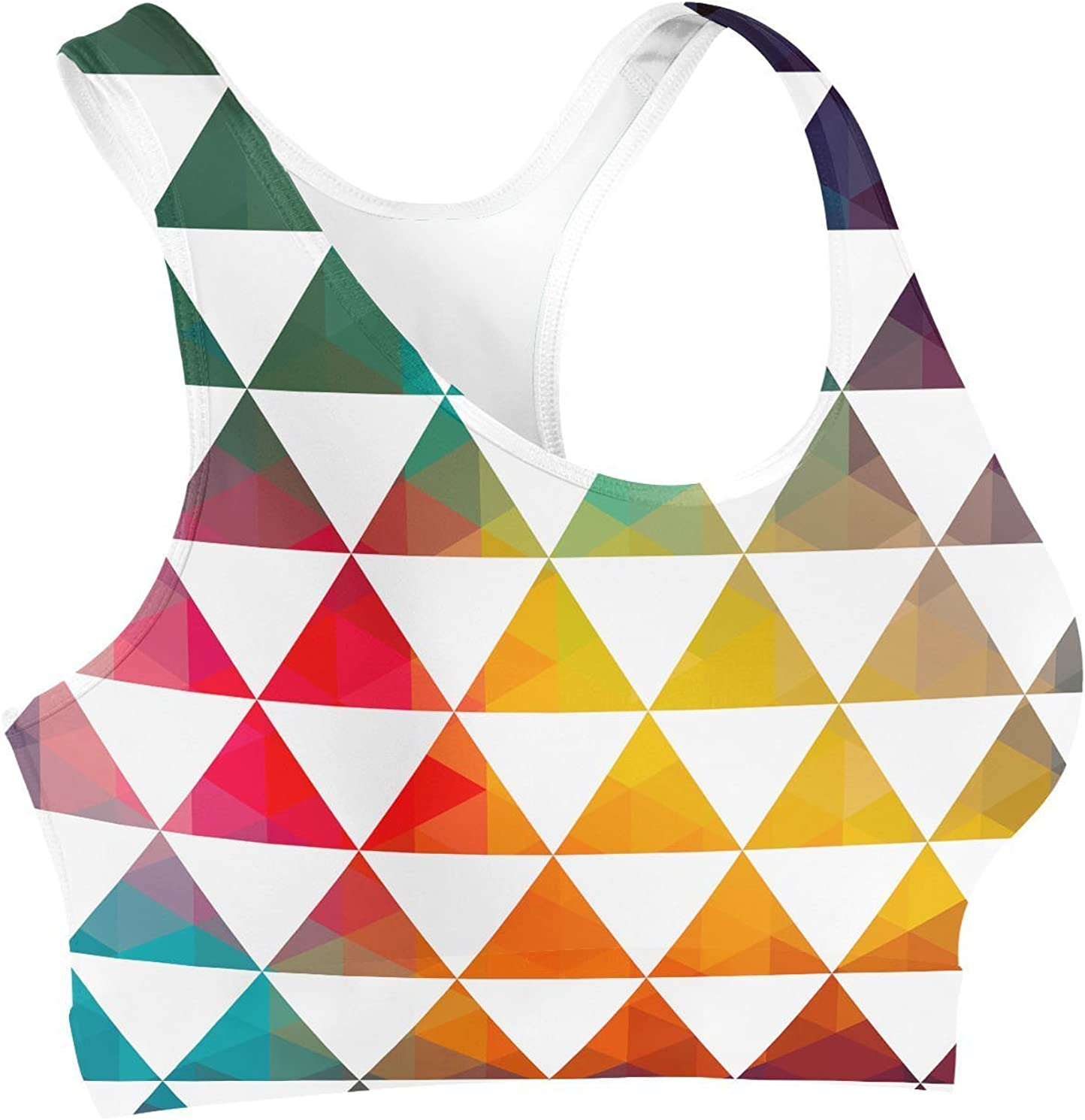 XS Queen of Cases Geometric Triangle Rainbow Sports Bra