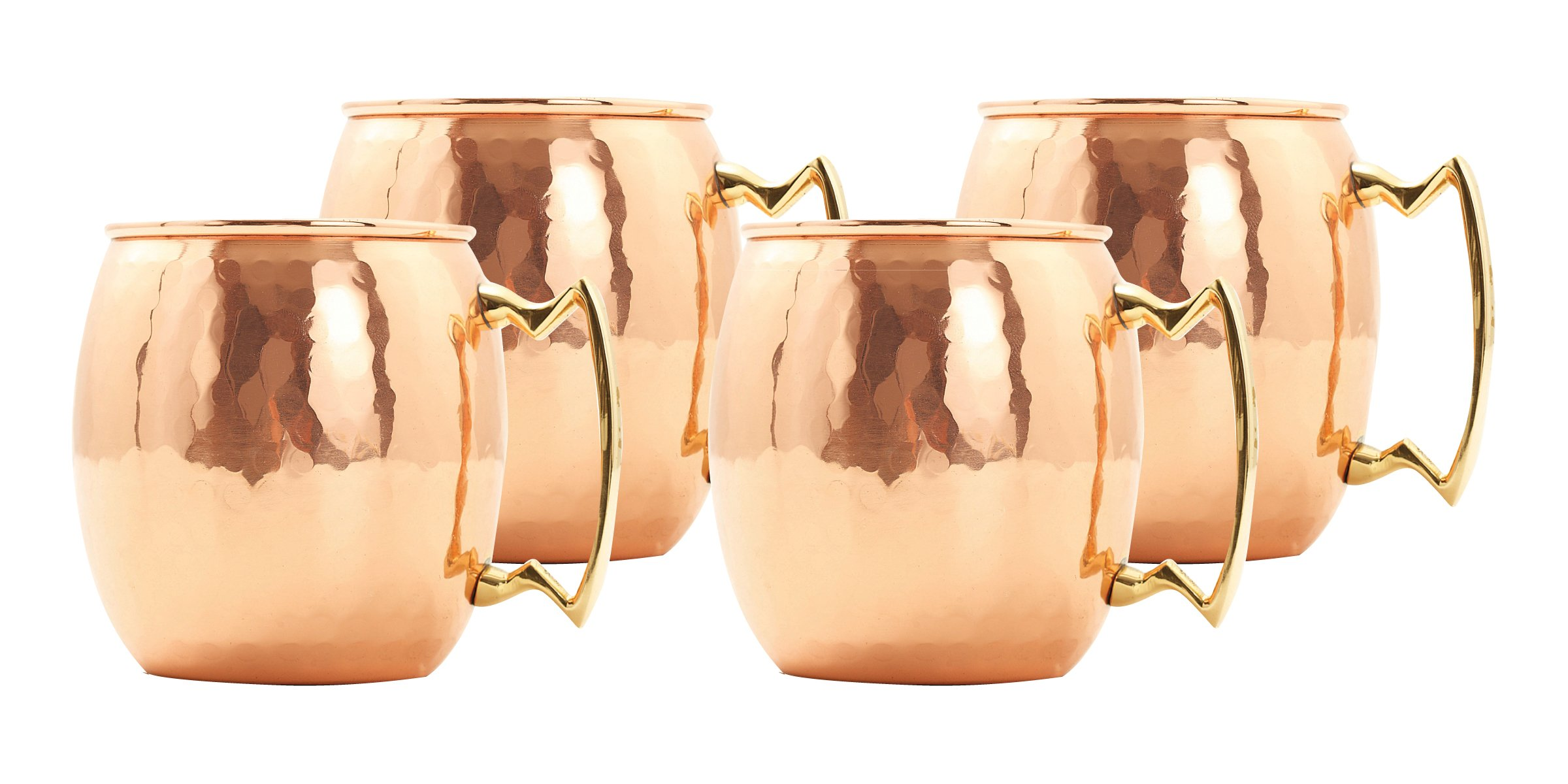 Old Dutch 16 Oz. Nickel-Lined Solid Copper Hammered Moscow Mule Mug, Set of 4
