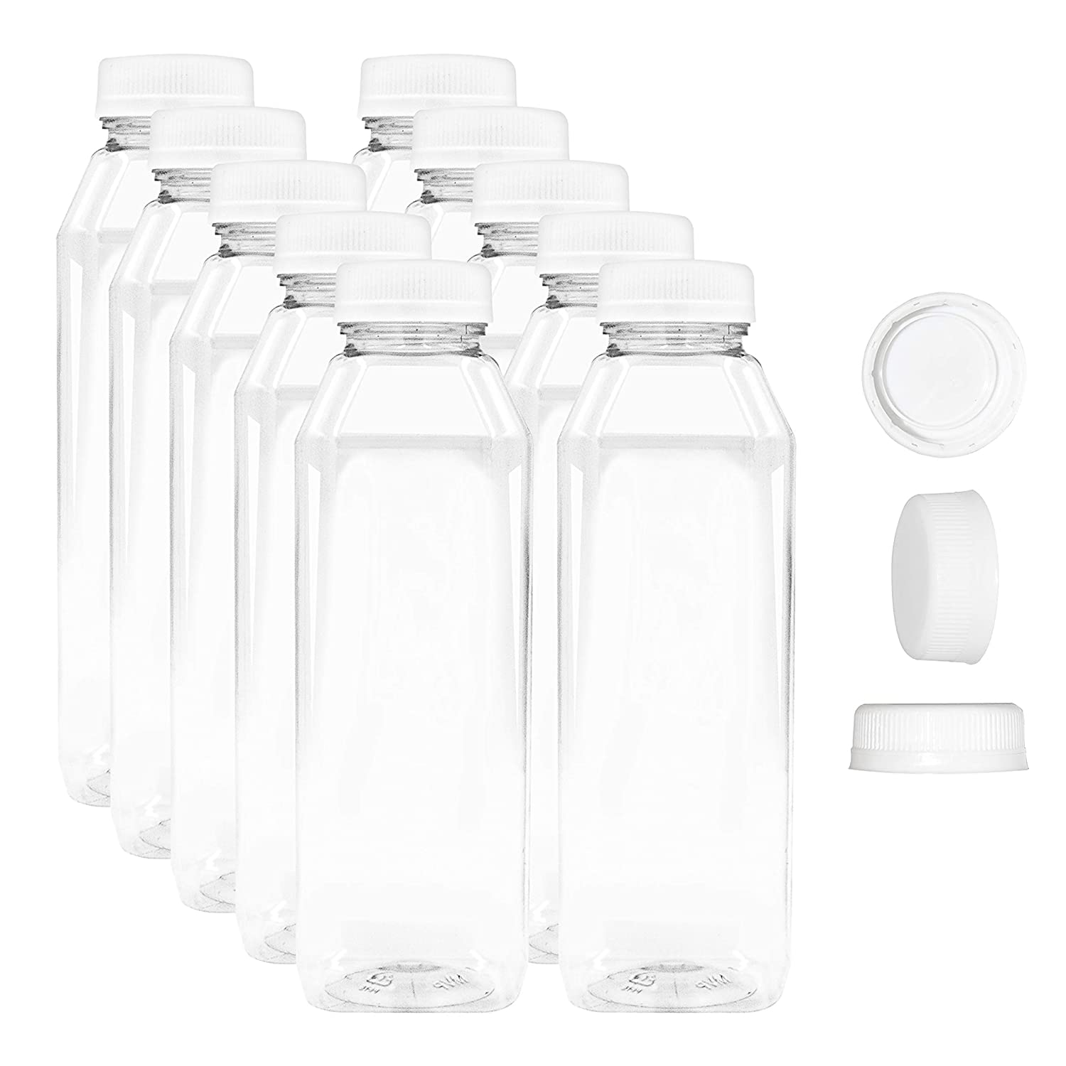 12 Ounce Empty Juice Bottles - Set of 10 Reusable Clear Plastic Disposable Milk Containers with White Tamper Proof Caps