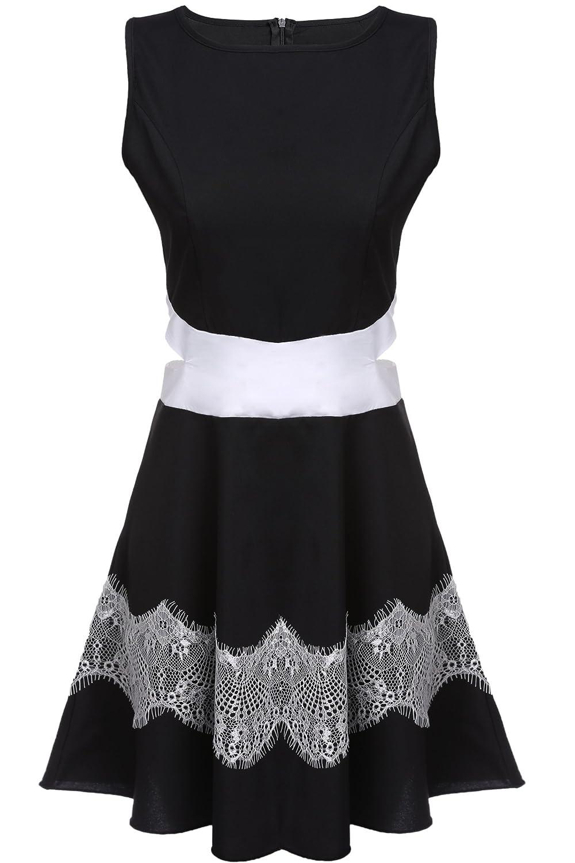 Fanala Women Sleeveless High Waist Lace Hollow A-Line Short Dress