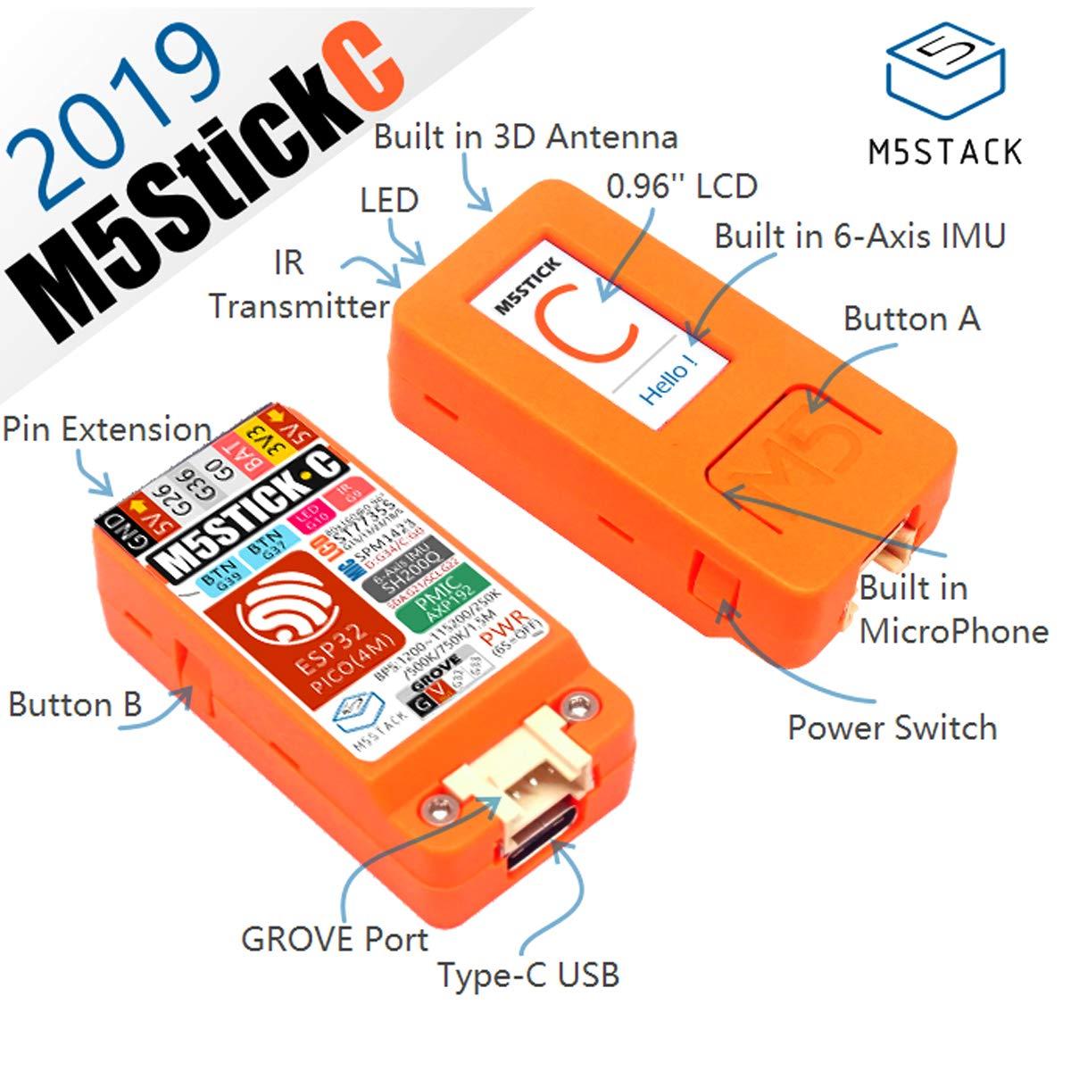 microfono interfaccia Grove MakerHawk M5StickC ESP32 Scheda mini IoT con display a colori LCD TFT a colori da 0,96 pollici MicroPython e UIFlow Programming flash incorporato da 4 MB per Arduino