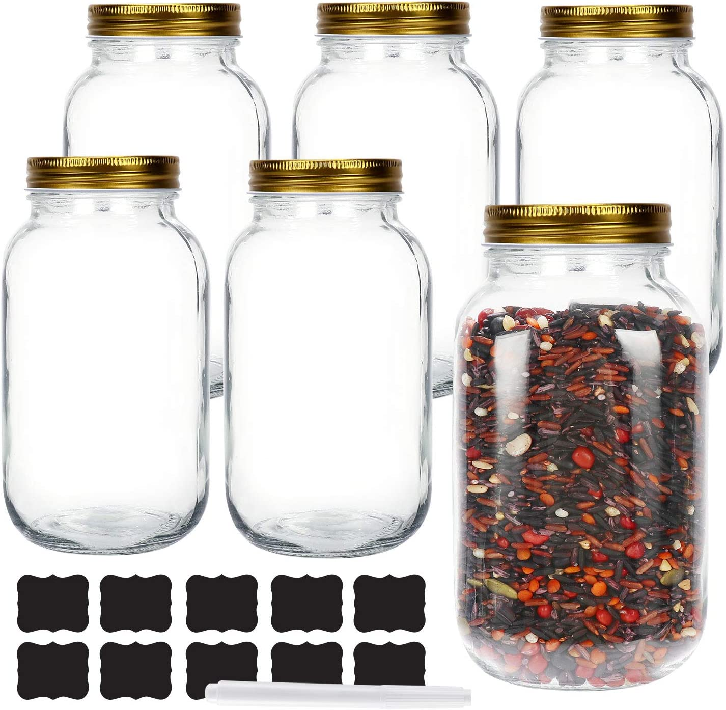 6 Pack 1 Liter 34 oz Glass Mason jars With Regular Mouth Lids, Perfect Containers for Jam, Honey, Candies,Wedding Favors, Decorations, Baby Foods. Included 1 Pens and 10 Labels.