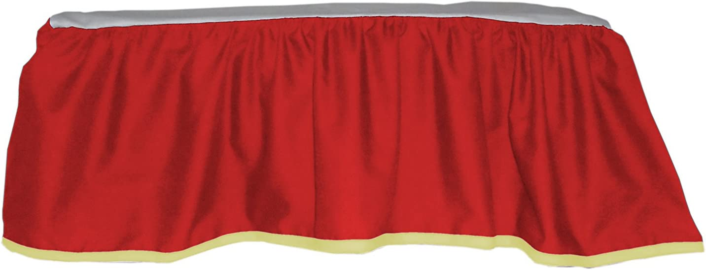 Baby Doll Solid Reversible Crib Skirt/ Dust Ruffle, Red/Yellow by BabyDoll Bedding