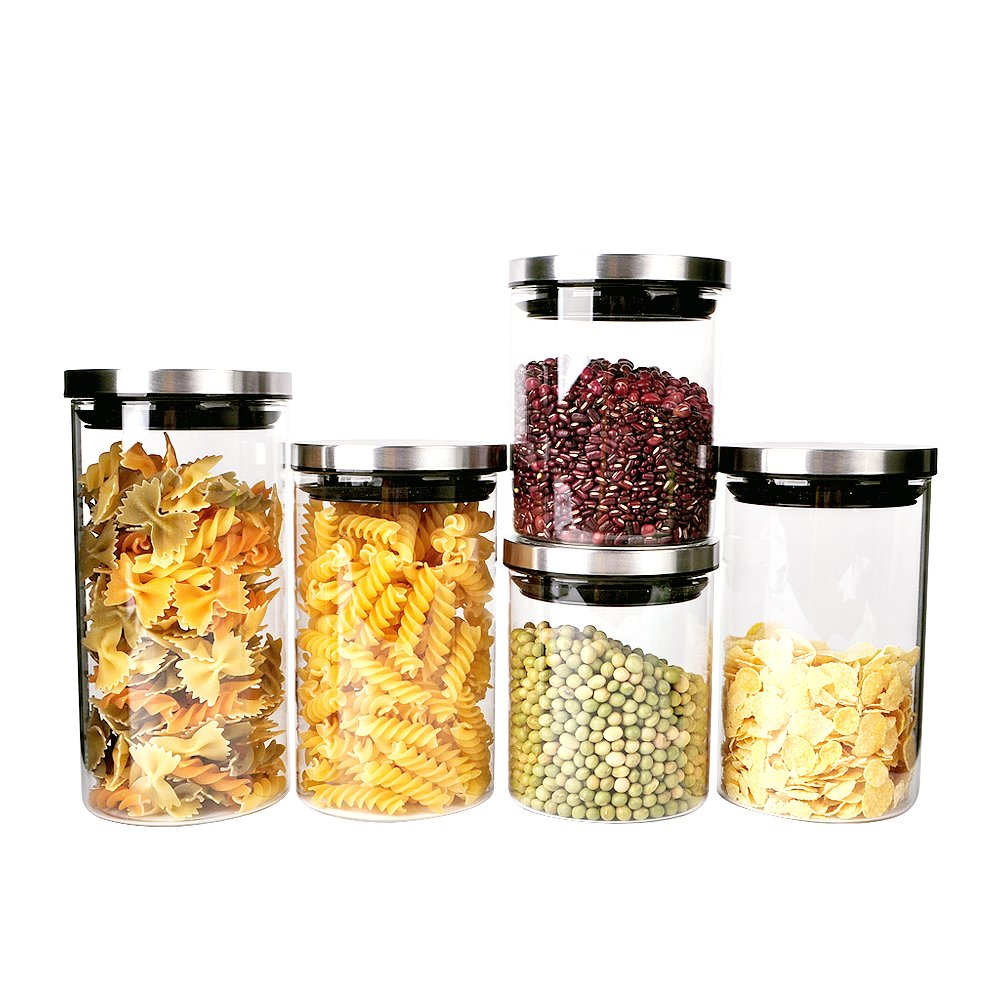 Triangle Stackable Glass Food Storage Containers with Stainless Steel Airtight Lid, Set of 5, Glass Storage Jar for Pasta, Tea, Coffee, Cookies, Snacks