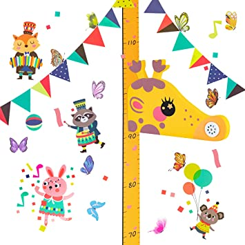 Surplex Baby Messlatte H/öhe Diagramm 3D Giraffenkopf Wachstumstabelle H/öhenlehre Magnetische Messung Abnehmbarer EVA-Kopf Spieluhr Kindergarten Tier Wandabziehbild f/ür Kinderziemmer Dekoration