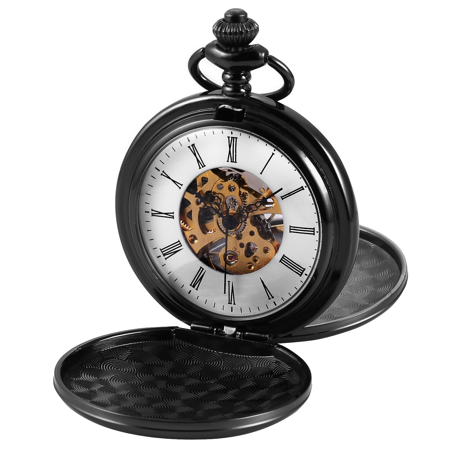 AMPM24 Double Hunter Black Case Mechanical Pocket Watch WPK229