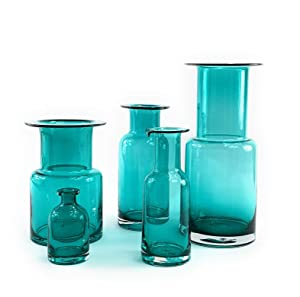 "Symmetric Matrix Glass Vase for Flowers, Clear Blue Green, 4.0"" Tall - Handmade, Bud Vintage Blue Vases with Bottle Shape for Living Room, Kitchen - Luxurious, Elegant Turquoise Home Decor"