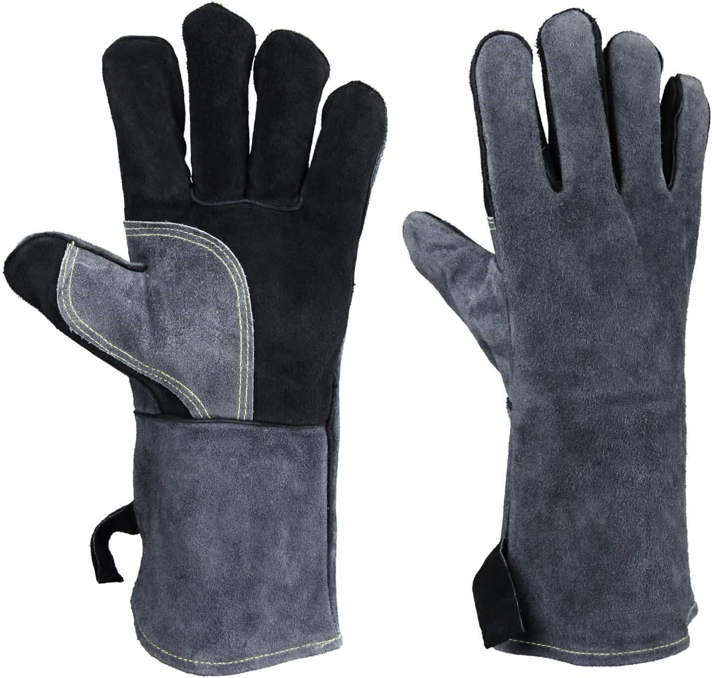 932°F Leather Heat Resistant Welding Gloves Flame Retardant BBQ Grill Glove f...