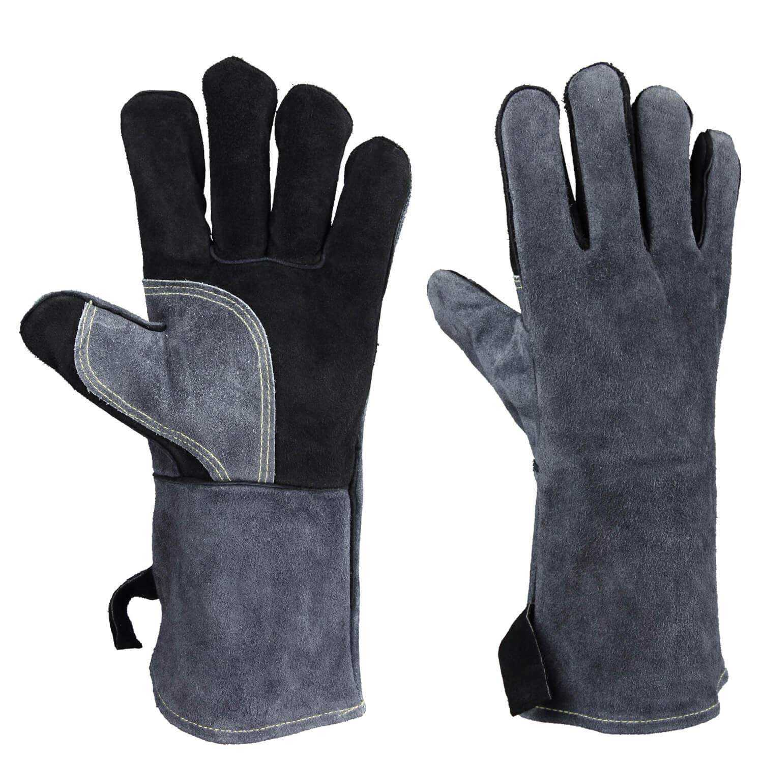 OZERO Leather Welding Gloves Heat Resistant Flame Retardant Glove for Fireplace Wood Stove BBQ Grilling