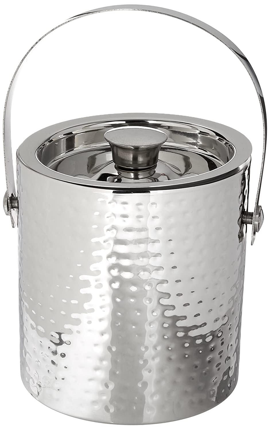 Elegance Hammered 6-Inch Stainless Steel Ice Bucket With Tongs Leeber Limited USA 72607