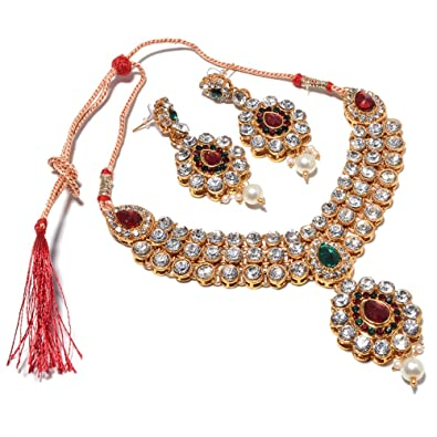 Amazon Com Jewar Muliclour Ad Gold Plated Indian Bridal Necklace