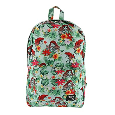 Amazon.com  Loungefly x Disney Ariel Floral Leaves Backpack  Clothing 93499165cf694