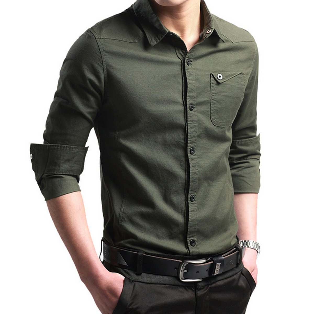 LOCALMODE Men's Military Slim Fit Dress Shirt Casual Long Sleeve Button Down Dress Shirts Army Green L