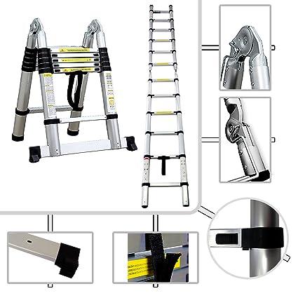 Todeco   2 In 1 Scaletta 95 Cm A 3.8 M E Scala Telescopica PRO In Alluminio