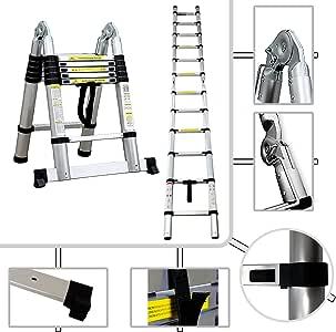 Todeco - Escalera Multiusos, Escalera de Tijera - Estándar/Certificación: EN131 - Carga máxima: 150 kg - 3,8 Metro(s), Barra estabilizadora, EN 131: Amazon.es: Bricolaje y herramientas
