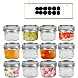 FRUITEAM 4 oz 12 PACK Regular Mouth Mini Mason Jars with Lids and Bands, Quilted Crystal Jars Ideal for Food Storage…