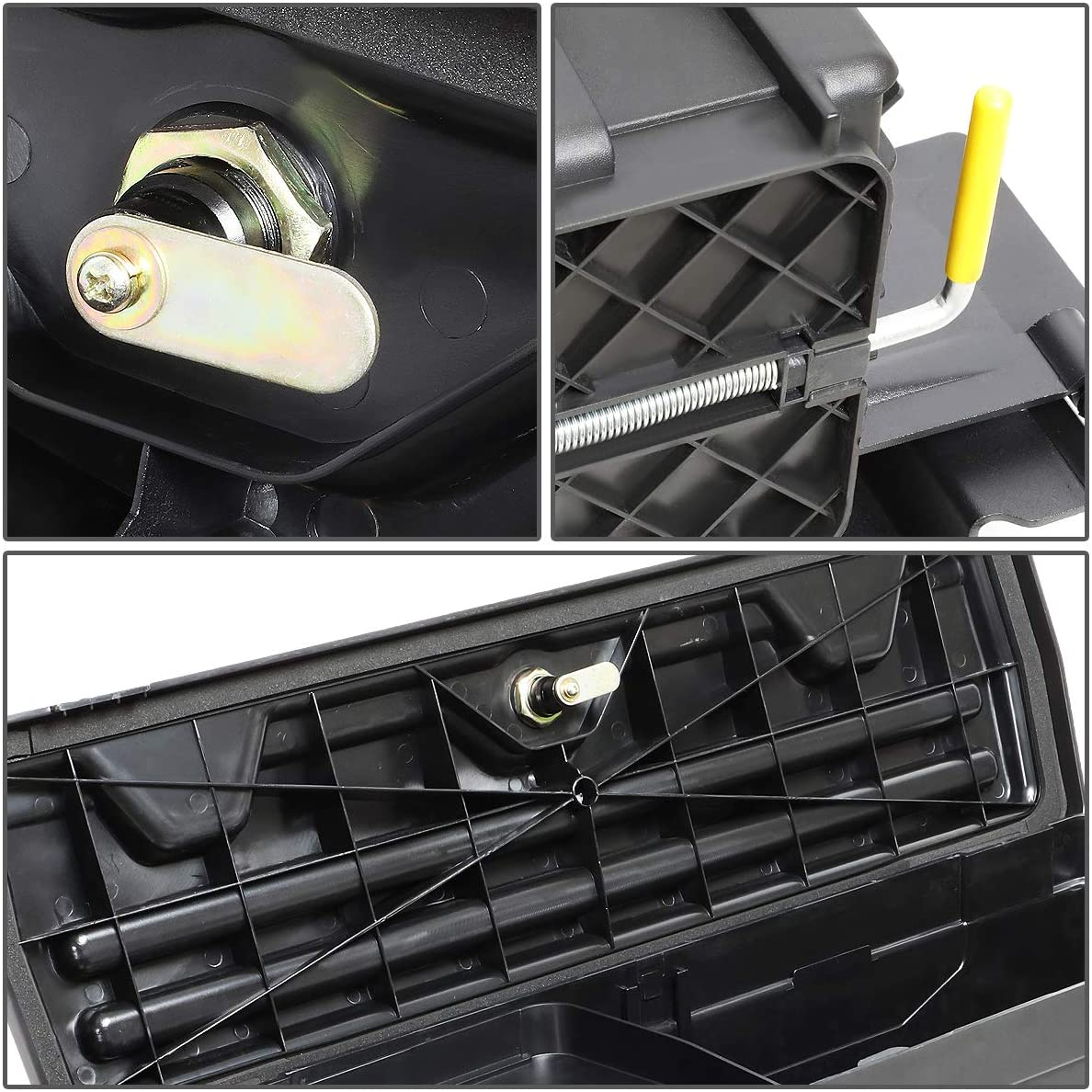 DNA MOTORING ZTL-Y-0103 Truck Bed Wheel Well Storage Case Tool Box w//Lock Right Side For 15-20 F-150 Black