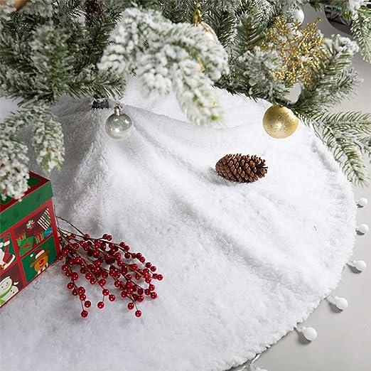 ANMOQI Falda del Árbol De Navidad Blanco 48 Pulgadas Adornos De ...