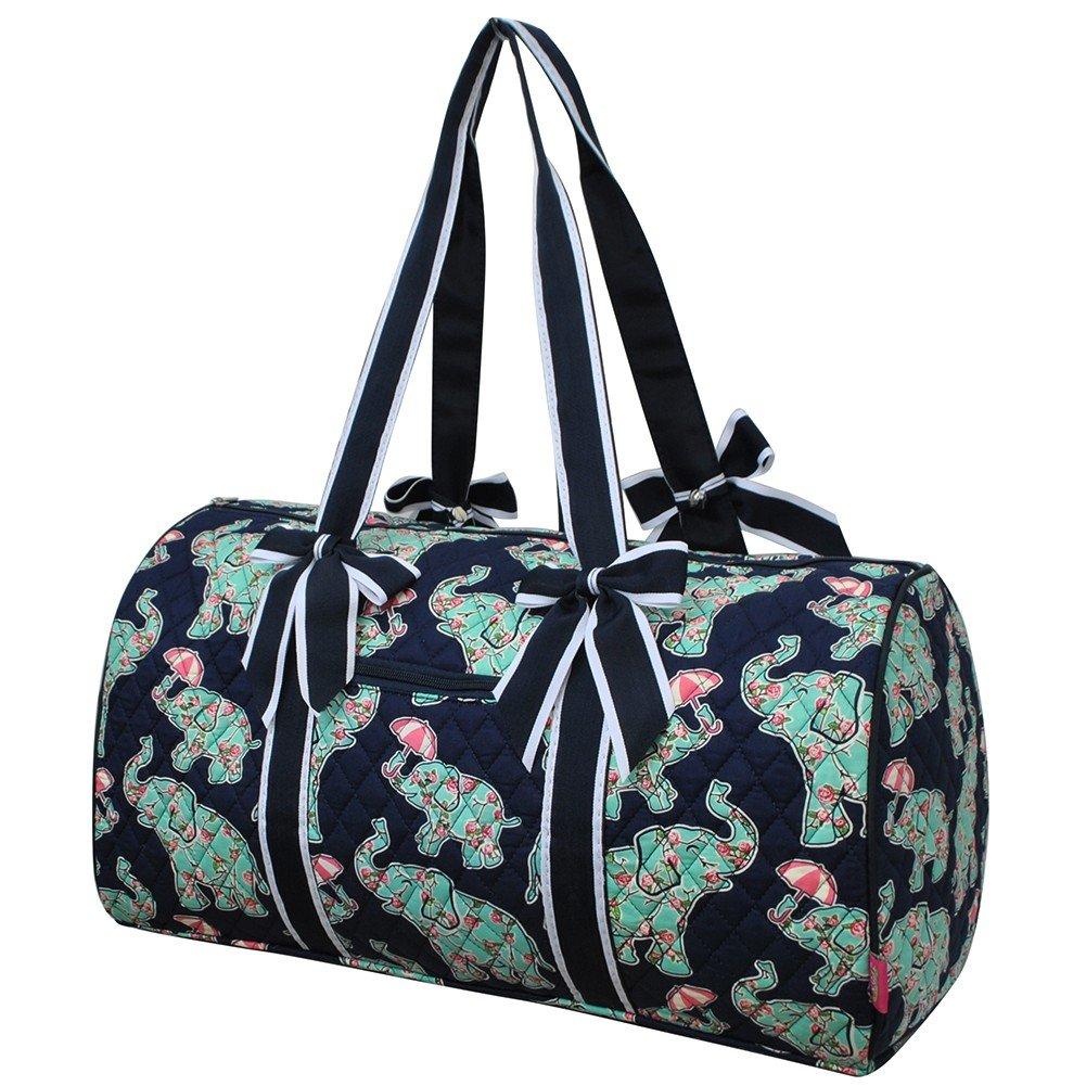 NGIL Baby Elephant Umbrella Print Large Quilted Duffle Bag