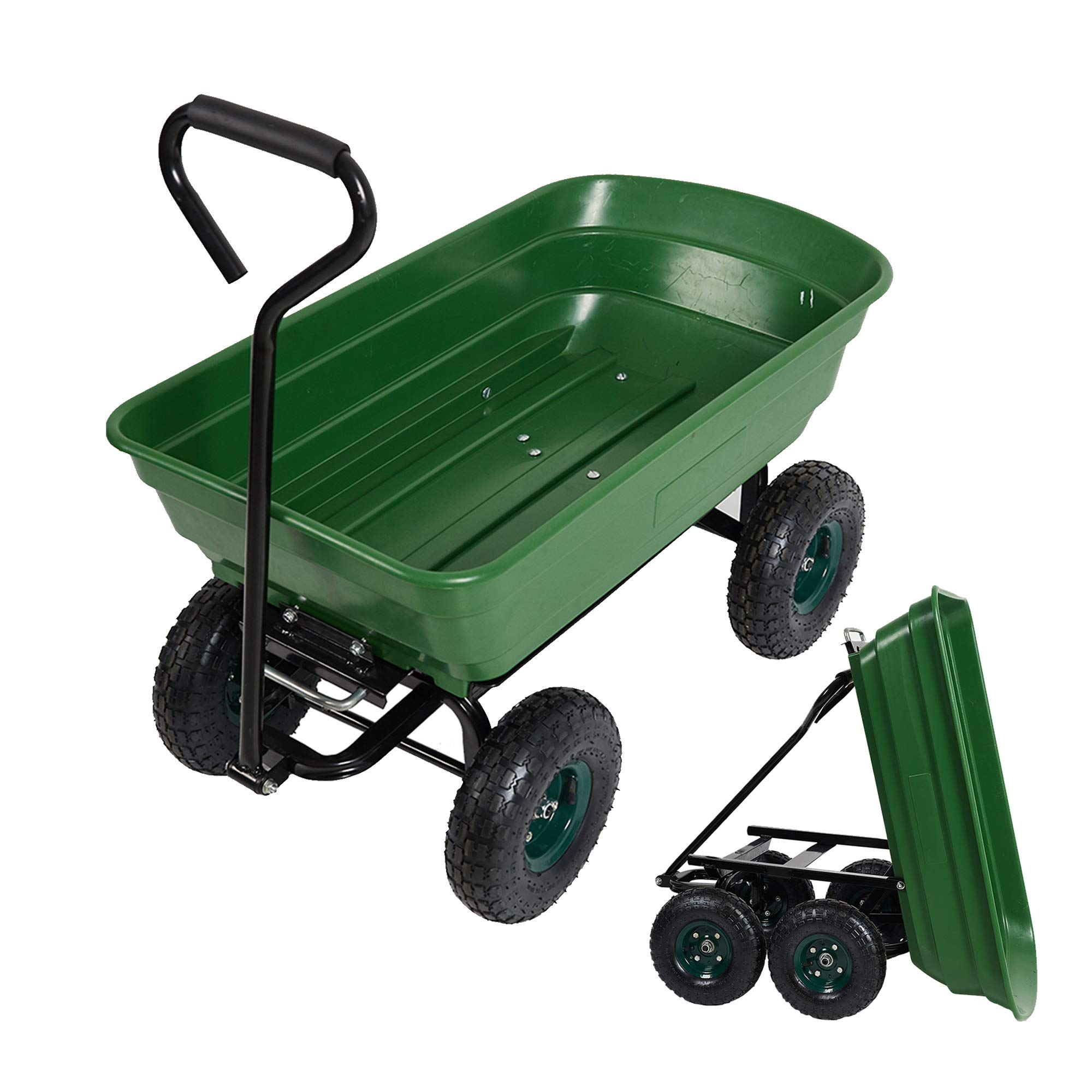 LUCKYERMORE Garden Dump Utility Wagon Cart-550 LB Weight Capacity Multifunctional Wheelbarrow Sturdy Plastic Yard Lawn Cart for Wood and Cargo Carrier by LUCKYERMORE