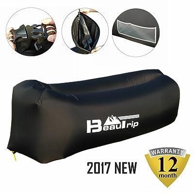 BEAUTRIP 2017 Nouvelle version! 100% Nylon Canapé Chaise Transat gonflable avec poches, Ancre de sécurité et Ouvre-bouteille - Idéal pour l'intérieur et En plein air Camping et pique-niques