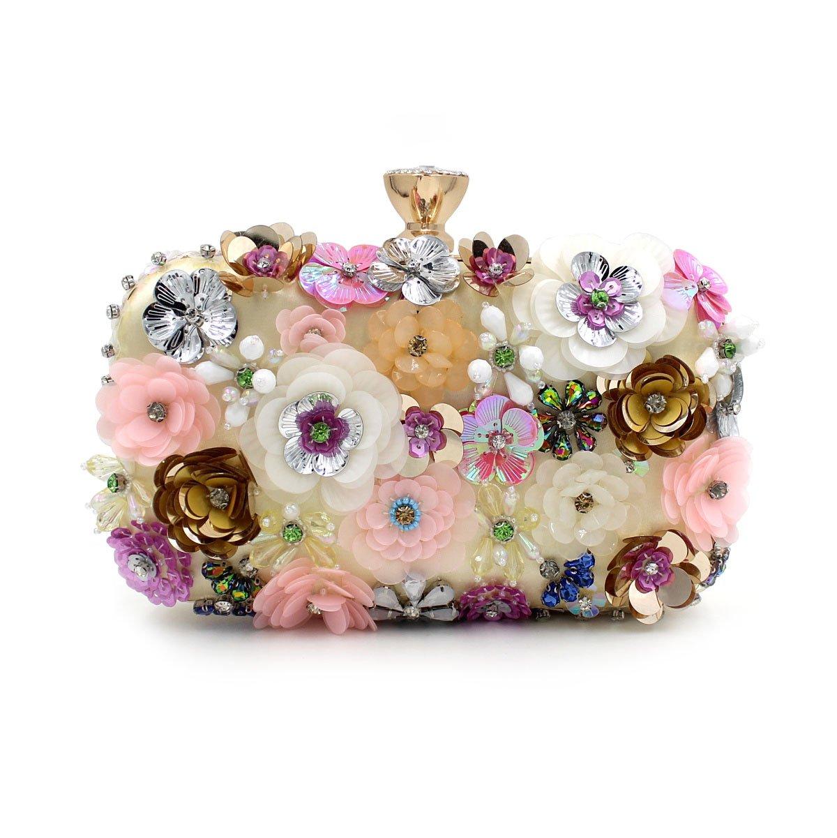 WYB Farbe Blumen Perlen Stickerei Abendessen/Clutch/High-End Pearl Abendtasche/Hochzeit Paket GVBGF
