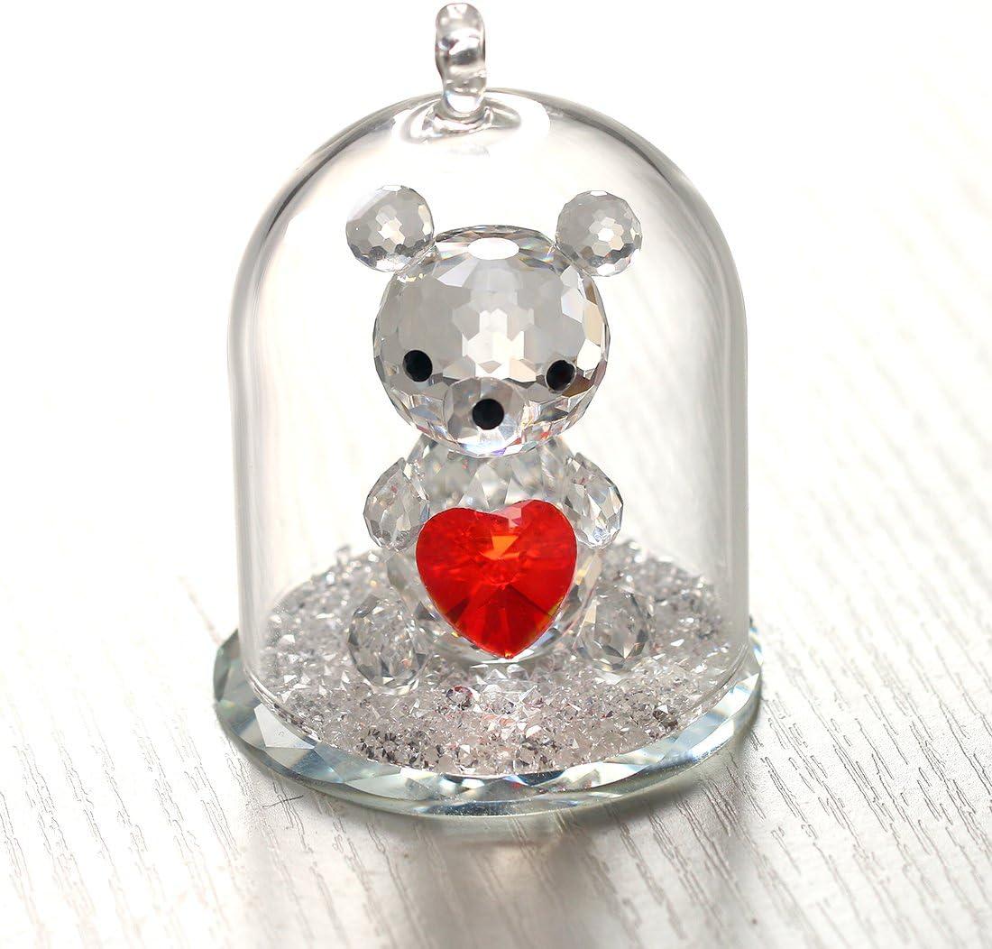 H/&D Cristal Petit Ours figurine Collection dans un d/ôme en verre de No/ël D/écoration de mariage